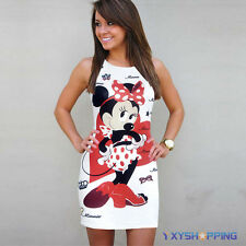 Women Casual Cartoon Minnie Mouse Printed Summer Bodycon Ladies Party Mini Dress
