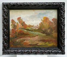 """Piccolo Dipinti a olio:""""Der Vista per Villaggio"""",su legno dipinto,con cornice"""