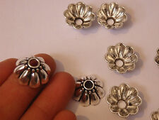 10 large bead caps tibetan tibet silver antique vintage jewellery wholesale UK -