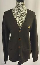FACONNABLE Olive Brown Button Up Pocket Elbow Patch Knit Cardigan Sweater XL NWT
