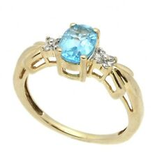Solid 10K Yellow Gold 7x5mm Oval Blue Topaz Diamond Accent Ring 2.3 Grams Sz 6