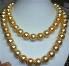 10mm gold AAA south sea shell pearl necklace 36 INCH