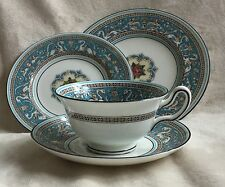 "RARE WEDGWOOD FLORENTINE TURQUOISE W2714 PEONY TEA CUP SAUCER 6"" PLATE 7"" PLATE"