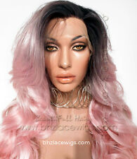 Dark Root body curl pink lace front wig Pink Charm lace wig lace wig pink wig