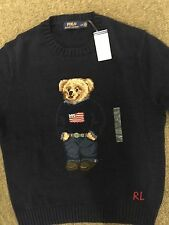 Polo Ralph Lauren Polo Bear Sweater L Large Weekend Bear American Flag Navy Blue