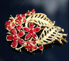 CORO signed gold tone red rhinestones flowers   BROOCH