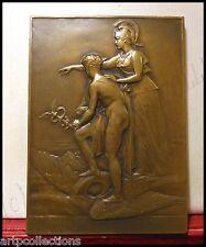 1946 Rare Médaille Plaque Commerce Cie Spéciale Gestion Bronze Minerve & Mercure