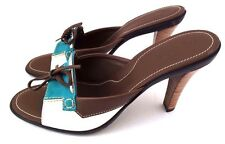 TOD'S Women's Ciabatt Ritz Donna Brown/Turquoise/White Leather Pumps Shoes 10B