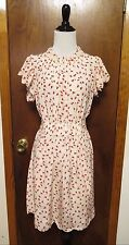 Jill Stuart Collection Ivory Silk Red Chick Print Belted She Dress Sz 2 NWT