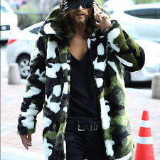 mens winter camouflage faux fox fur long jacket coats trench parkas overcoat
