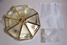 *NEW* Brass Flush Ceiling Light Octagonal Beveled Glass 3-Light 78352-73
