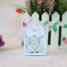 10 pcs Laser Cut White Heart Party Candy/Favor Box