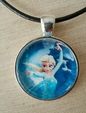 """ELSA"" Disney's Frozen. Glass Pendant with Leather Necklace"