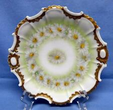 "T.V. LIMOGES FRANCE HAND PAINTED DISPLAY PLATE SZ-7"" DAISY CHAIN GOLD RIM C.1907"