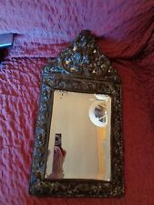 ART NOUVEAU BRASS FRAMED BEVELLED WALL MIRROR WITH RAISED FOILAGE & SCROLL RELIE