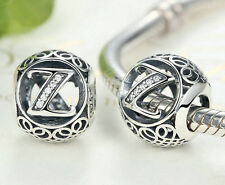hot letters Z European Silver CZ Charm Beads Fit sterling 925 Bracelet Chain #4
