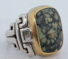 Scott Diffrient Mayan Temple Large Sterling, Damele Turquoise & 22k Gold Ring