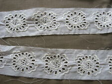 8 YDS  WHITE FLORAL COTTON EYELET EMBROIDERED LACE INSERT.