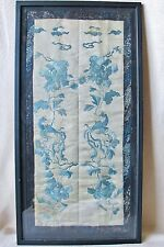 "20"" Pair of Framed Antique Chinese Embroidery Silk Sleeve Cuffs w/ PHOENIX Birds"