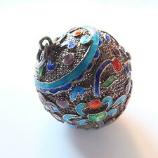Antique Chinese Silver/Enamel Fine Filigree Wire Work Large Ball/Sphere Pendant