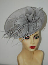 SILVER GREY UPTURNED FASCINATOR & HANDCRAFTED SILVER GREY FEATHER  MADE TO ORDER