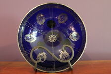 COBALT BLUE FOOTED BOWL WITH SILVER OVERLAY