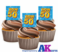 50th Birthday WOW 50 Mix 12 Cup Cake Toppers Edible Decorations Party