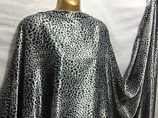 *NEW* Designer Stretch Satin Silver Grey/Black Animal Print Fabric*FREE P&P*