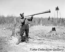 How a Cook Calls Lumberjacks to Dinner, Iron River, MI 1937 Historic Photo Print