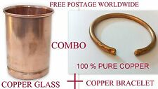 Ayurvedic 100% Copper BRACELET + GLASS/CUP Storage Drinking Water health Yoga