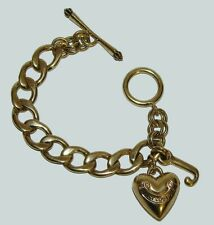 """JUICY COUTURE Bracelet Gold Charm 7"""" Puffy Heart J Authentic"""