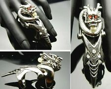 TF216 Red Eye Crystal Chinese Dragon Ball Armor Claw Ring EMO Punk Gothic Biker