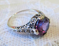 Color Change Alexandrite Filigree Floral Ring Sterling Silver Vintage Style Sz 8