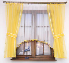 Set New Net  Curtain Window Door  White & Yellow  Voile Piping ready made Decor