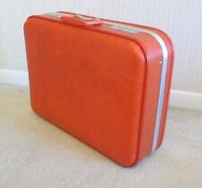 Vintage Orange Hard Shell Suitcase Luggage Medium Size 20 x 15 x 6 SPOTLESS Case
