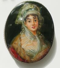 BEAUTIFUL RUSSIAN MOTHER OF PEARL BROOCH FEDOSKINO HAND MADE PAINTED #1607203