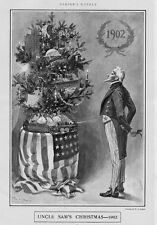 UNCLE SAM'S CHRISTMAS TREE IN 1902 DECORATIONS ORNAMENTS CANDLES TOY TRAIN CARS
