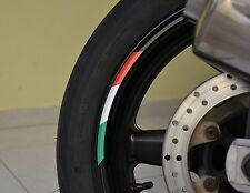"4x ITALY RIMS WHEELS VINYL STICKER STRIPES FLAG RIM FOR 17"" WHEEL MOTORCYCLE"