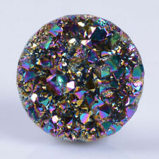 g1826.2  one piece 18mm Metallic rainbow coated druzy agate round cab cabochon