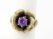 Vtg Estate Solid 10k Yellow Gold 5.6g Purple Amethyst Flower Ring sz 6
