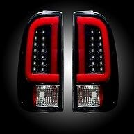 RECON FORD SUPER DUTY 99-07 & F150 97-03 SMOKED LED TAIL LIGHTS PART# 264292BK