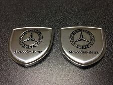 Mercedes Benz Emblem (2pcs) Metal Side Badge Sticker Decal Fender Hood Trunk