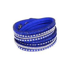 Rhinestone Leather Wrap Bracelet  Bangle Crystal Multilayer Punk Bracelets uni