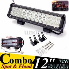 72W LED Work Light Bar Flood/Spot Combo 12V 24V Off Road Car 4WD Truck Boat