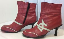 Destroy Ladies Red Cream Leather Punk Biker Stiletto Ankle Boots UK 4 EU 37