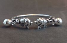 Adorable Womens Sterling Silver 925 Bangle Cuff Elephant Charm Jewelry Bracelet
