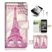 iPhone 5 5S Print Flip Wallet Case Cover! Eiffel Tower Paris Stamp P0492