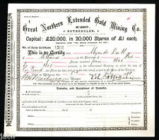Share Scrip - Gold Mining. 1896 Great Northern Extended Gold Mining - Rutherglen
