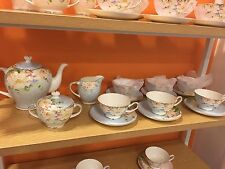 English Tea Sets (blue) /Tea Pot, Sugar Bowel, Milk Pot, 6 Sets Cups & Saucers