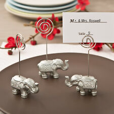 40 - Good Luck Silver Indian Elephant Place Card Photo Holder - Wedding Favor